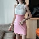 洋裝 小禮服 網紅主播裙子夜場女裝氣質性感拼蕾絲緊身包臀露肩背掛脖連身裙女 韓風