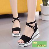 2018夏季韓版坡跟高跟羅馬涼鞋厚底學生交叉帶黑色鬆糕防潑水台女鞋
