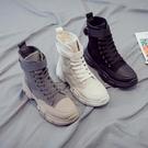 鞋子女潮鞋馬丁靴薄款時尚潮流英倫風短靴顯瘦高幫春秋單鞋潮「時尚彩紅屋」
