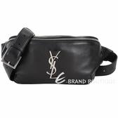 YSL Saint Laurent MONOGRAM 仿舊銀字小羊皮肩胸包/腰包(黑色) 1940029-01