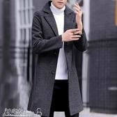 風衣男 2020新款春秋季韓版潮流毛呢外套男士中長款風衣修身呢子大衣男裝 小宅女