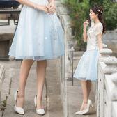 中國風繡花特密沙鬆緊腰高腰裙民族風雙層半身裙