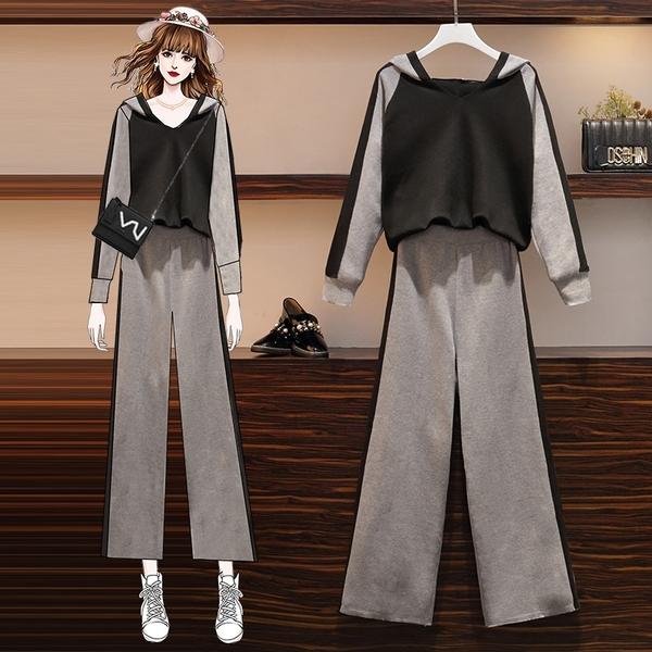 超殺29折 韓國風休閒寬鬆運動褲大碼顯瘦洋氣套裝長袖褲裝