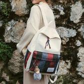 古著感少女後背包新款韓版撞色格子包高中校園學生書包閨蜜包