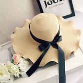 夏季蝴蝶結波浪大沿海邊沙灘草帽 可折疊遮陽帽m30
