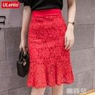 窄裙 夏裝新款蕾絲修身顯瘦包臀裙荷葉邊半身裙不規則魚尾裙包裙女 韓菲兒
