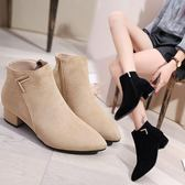 全館83折 女鞋靴子2018秋冬季新款歐美尖頭粗跟低跟短靴磨砂側拉鏈切爾西靴