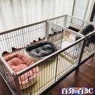 寵物圍欄 狗柵欄木質寵物圍欄帶廁所大中型犬隔離門小狗窩籠子室內狗狗用品 WJ百分百