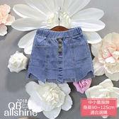 女童短裙 不規則裙擺三顆排扣假口袋造型牛仔短裙 QB allshine