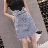 高腰潮流韓版牛仔半身裙毛邊拼接修身A字裙新款夏季短裙女裝xy1309【艾菲爾女王】