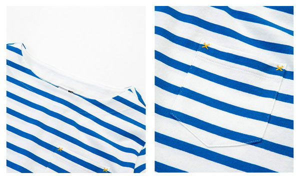 CHUMS 日本 男 條紋長袖T恤 白/湖水藍 CH011209W026