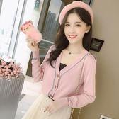 2018秋季新款女裝韓版氣質V領拼色單排扣針織衫寬松長袖上衣開衫