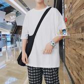 夏季新款男士短袖圓領休閒t恤正韓潮流學生帥氣白色寬鬆上衣【開學季任性88折】