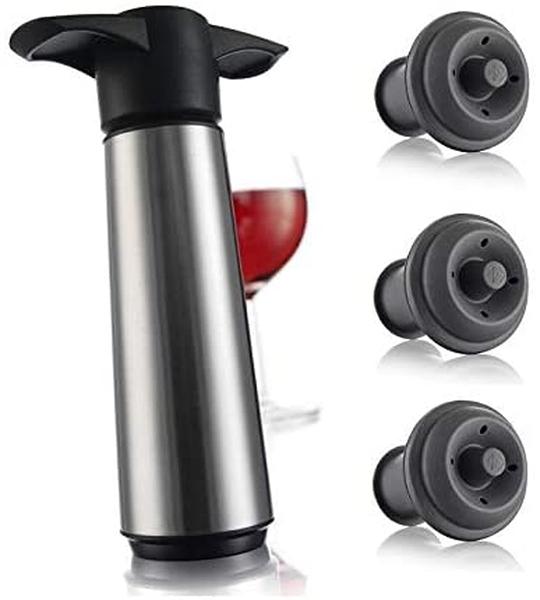 [9美國直購] 真空節酒器 Vacu Vin Stainless Steele Wine Saver (Stainless Steel Pump + 3 Stoppers)