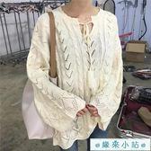 春裝韓版鏤空系帶長袖針織衫女