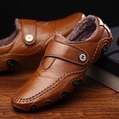店長推薦2019新款冬季男士加絨保暖休閒皮鞋真皮豆豆鞋男英倫百搭懶人鞋子