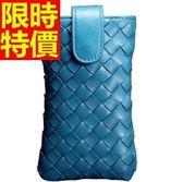 真皮手機包-羊皮手工質感手拿女編織包15色6b43【巴黎精品】