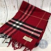 BRAND楓月 BURBERRY 經典款圍巾 紅色格紋 100%CASHMERE