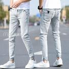 牛仔褲男高端灰色牛仔褲男修身彈力小腳褲男韓版春夏季薄款顯男士長褲 快速出貨