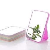 ✭慢思行✭【P600】簡約純色摺疊鏡 創意 化妝鏡子梳妝鏡 便攜 方形 公主鏡  耐磨 化妝台