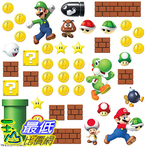 [8美國直購] RoomMates Nintendo Super Mario Build A Scene Peel And Stick Wall Decals - RMK2351SCS B00J7W3M2A