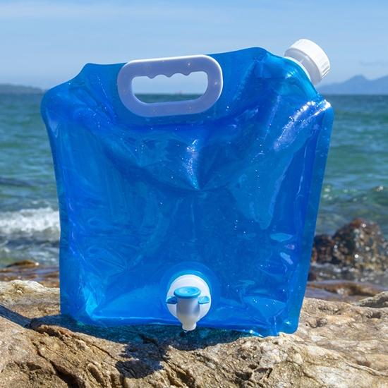 水袋 儲水袋 塑料袋 裝水袋 基本3L 蓄水 折疊袋 登山 加龍頭 旅行 折疊手提儲水袋【R047】慢思行