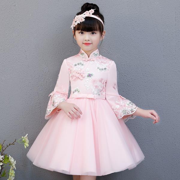 女童連身裙春秋2019新款小女孩洋氣裙子春裝兒童裝禮服旗袍公主裙