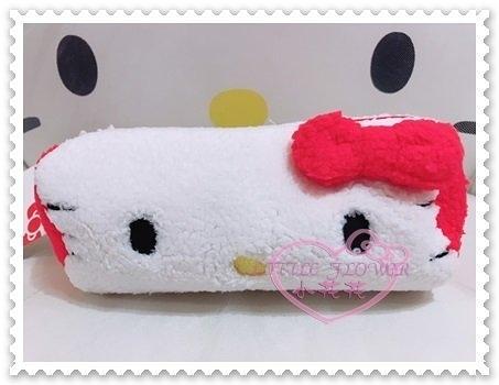 ♥小花花日本精品♥Hello Kitty 化妝收納包小物包筆袋收納袋絨毛大臉蝴蝶結立體造型 42217503