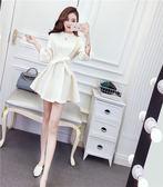 VK旗艦店 韓國小香風七分袖綁帶收腰顯瘦長袖洋裝