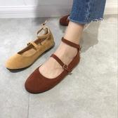 韓國減齡百搭純色絨面圓頭套腳淺口系扣娃娃鞋平底單鞋