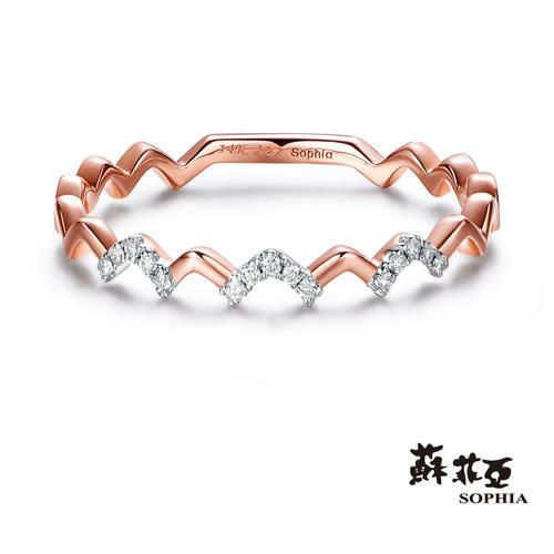 蘇菲亞SOPHIA - 波浪玫瑰金鑽石線戒