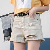 破洞牛仔短褲女高腰學生休閒顯瘦寬鬆翻邊熱褲褲子女  伊莎公主
