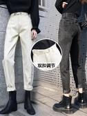 現貨-牛仔寬褲米白色直筒牛仔褲女寬松春秋季高腰老爹褲冬裝闊腿顯7-2