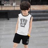 男童套裝2019夏季新款兒童短袖兩件套無袖背心TA7525【極致男人】