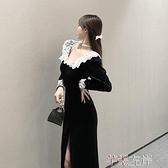 金絲絨洋裝 復古港味蕾絲花邊v領中長裙女裝秋季時尚氣質開叉絲絨連身裙 芊墨 618大促