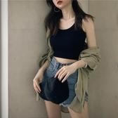 港味短款內搭打底無袖吊帶上衣女春夏黑色泫雅外穿緊身露臍小背心 萊俐亞
