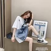 牛仔拼接洋裝 法式小眾牛仔拼接t恤裙女2021夏季新款寬鬆顯瘦設計感短袖連身裙 新品