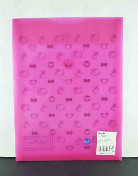 【震撼精品百貨】Hello Kitty 凱蒂貓~直式文件袋附扣-桃粉滿版