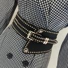 腰封新款金屬寬腰封女士百搭腰帶歐美皮帶裙帶鉚釘大衣