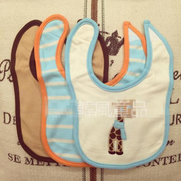 [Mamae] 美國 Luvable Friends (3件套)長頸鹿款棉質毛巾布圍兜 兒童圍嘴 嬰幼兒吃飯衣