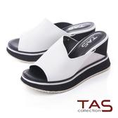 TAS寬版配色厚底楔型涼拖鞋-時尚白