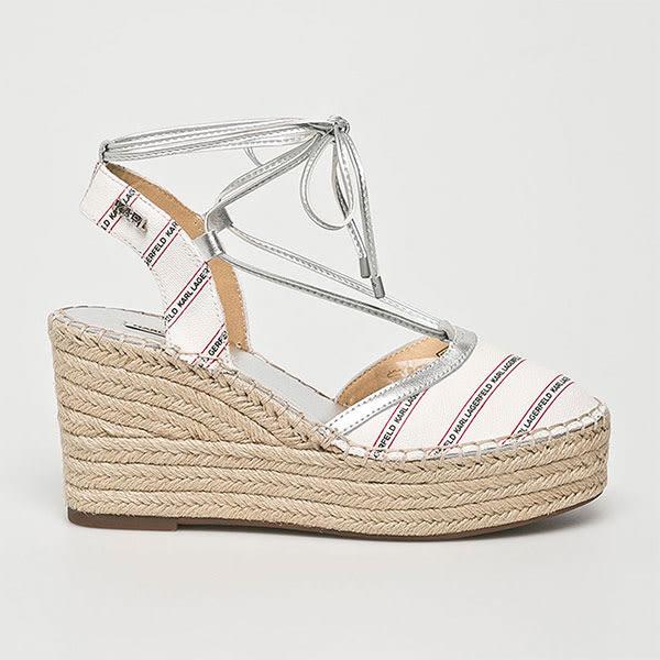 Karl Lagerfeld 卡爾 老佛爺 鞋 KAMINI斜條LOGO楔型草編鞋-白