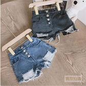 童褲 抓破潮流造型牛仔短褲 女童 童裝 二色
