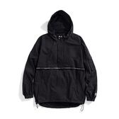 Y.A.S X Challenge聯名款 織帶連帽半開襟風衣外套-黑白