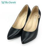 【Bo Derek 】側邊金屬飾扣素面高跟鞋-黑色
