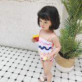 小橘子韓風夏季ins女童蝴蝶結泳衣可愛波浪女寶寶度假連體泳裝