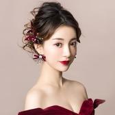 紅色簡約對夾邊夾韓式結婚禮服敬酒服仙美配飾品