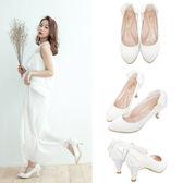 Ann'S皇家刺繡-後跟雙層蕾絲蝴蝶結中跟尖頭包鞋-白
