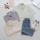 洋芋妹-正韓直條紋口袋款短袖襯衫 3色【...