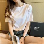 短款上衣 純棉白色短款t恤女夏寬鬆漏肚臍短袖黑色高腰露臍上衣-Ballet朵朵